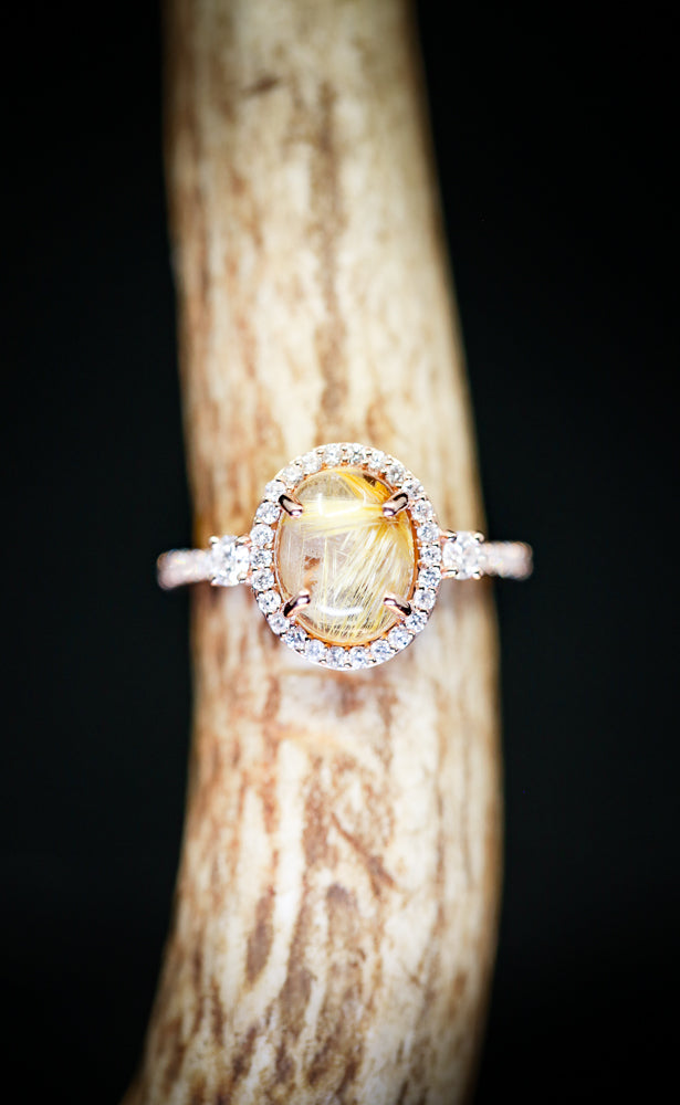 """KB"" ENGAGEMENT RING WITH RUTILATED QUARTZ AND DIAMOND ACCENTS (available in 14K rose, white, or yellow gold) - Staghead Designs - Antler Rings By Staghead Designs"