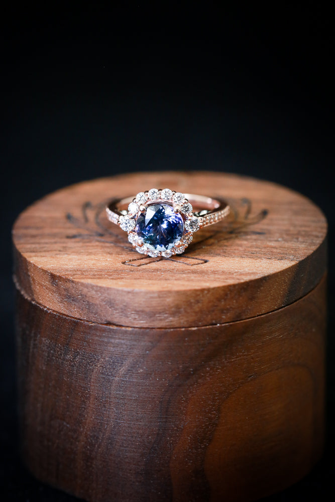 """OPHELIA"" WITH TANZANITE STONE AND DIAMOND ACCENTS (available in 14K rose, white, or yellow gold) - Staghead Designs - Antler Rings By Staghead Designs"