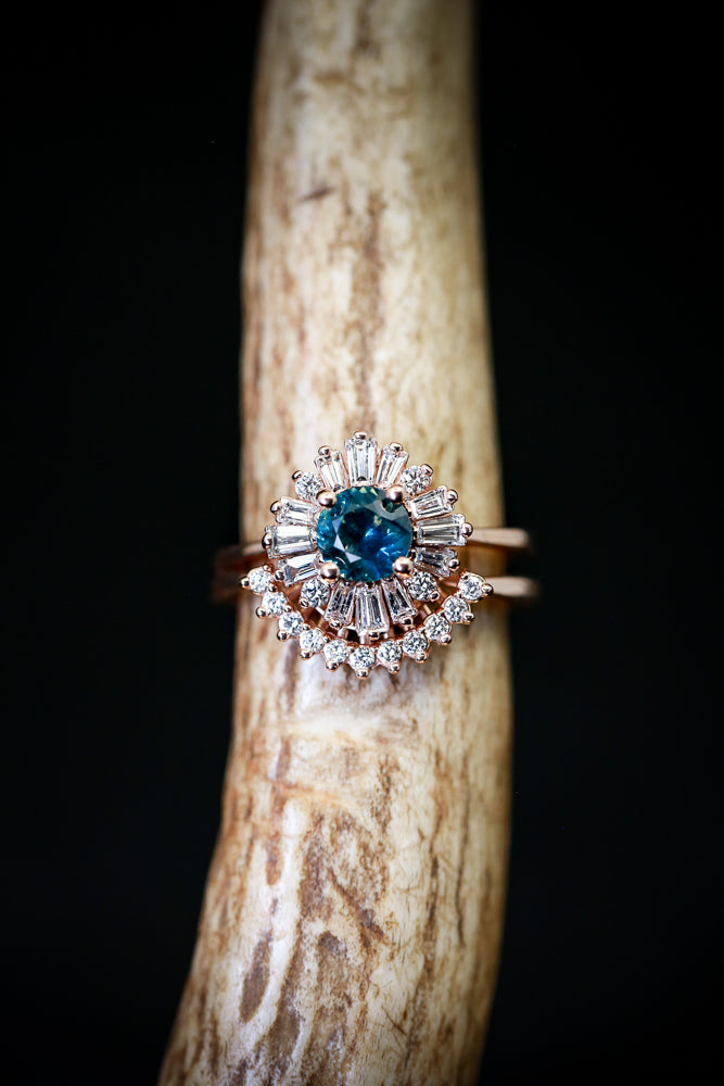 """BELLADONNA"" - 14K GOLD WEDDING BAND SET WITH A MONTANA SAPPHIRE & DIAMOND STACKING RING (available in 14K rose, yellow and white gold) - Staghead Designs - Antler Rings By Staghead Designs"