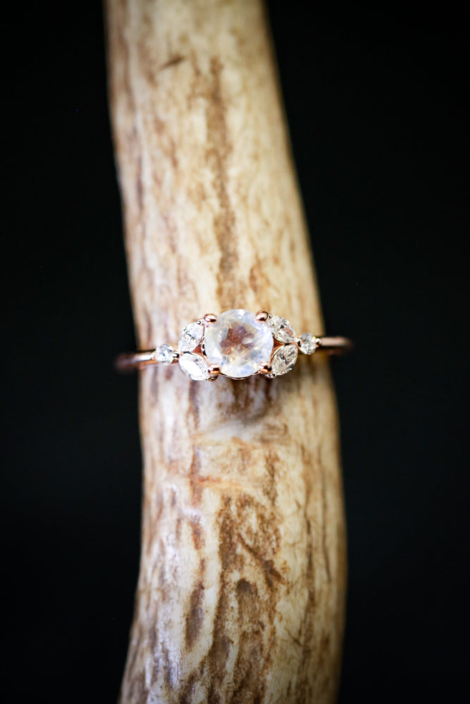 MOONSTONE & DIAMOND ENGAGEMENT RING ON 14K GOLD BAND (available in 14K rose, white, or yellow gold) - Staghead Designs - Antler Rings By Staghead Designs