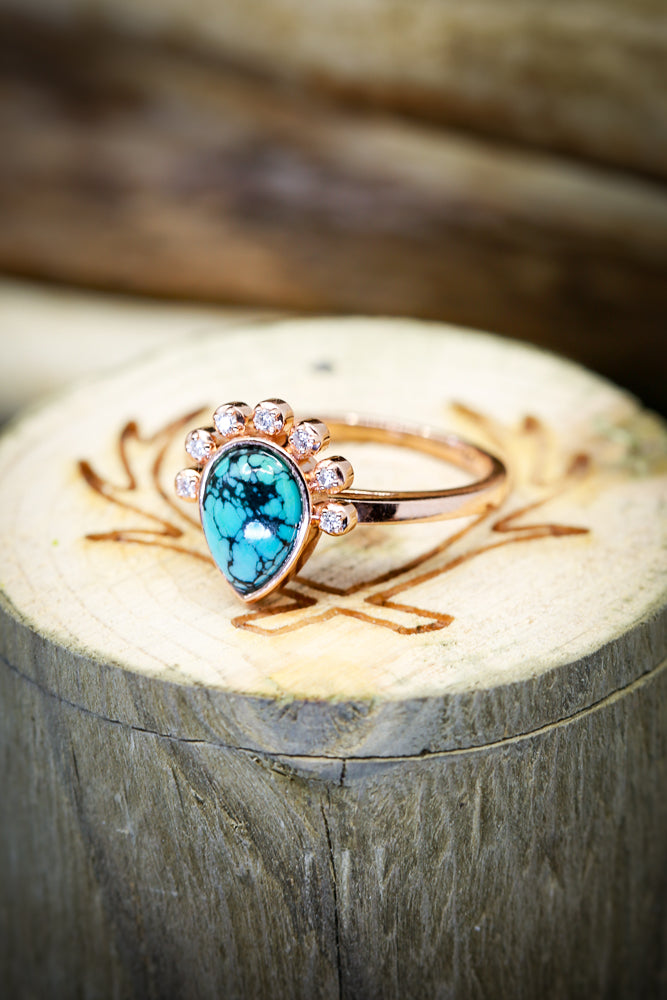 PEAR SHAPED TURQUOISE STONE WITH DIAMOND HALO ON 14K GOLD (available in 14K white, yellow & rose gold) - Staghead Designs - Antler Rings By Staghead Designs