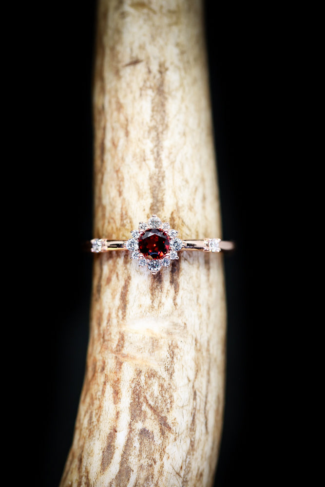 14K GOLD RING WITH GARNET CENTER STONE IN STARBURST STYLE AND DIAMOND ACCENTS - Staghead Designs - Antler Rings By Staghead Designs