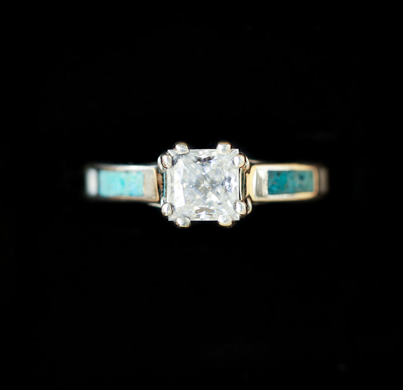 1ct MOISSANITE ANTLER PRONGED ENGAGEMENT RING WITH ANTLER AND TURQUOISE INLAYS (available in silver and 14K rose, yellow, or white gold) -  Custom Rings Handcrafted By Staghead Designs