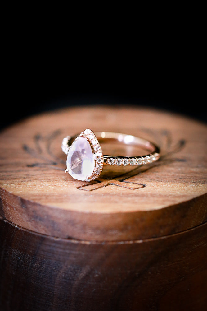 PEAR SHAPED ROSE QUARTZ WITH DIAMOND HALO (available in 14K white, rose, or yellow gold) - Staghead Designs - Antler Rings By Staghead Designs