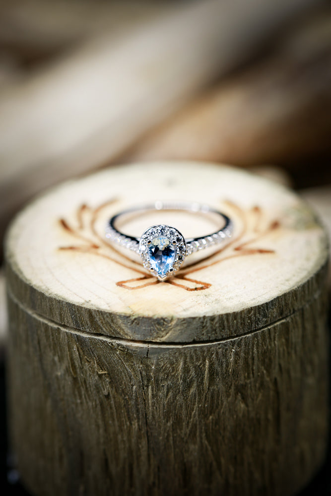 PEAR SHAPED AQUAMARINE ENGAGEMENT RING WITH DIAMOND HALO & ACCENT BAND (available in 14K rose, white, or yellow gold) -  Custom Rings Handcrafted By Staghead Designs