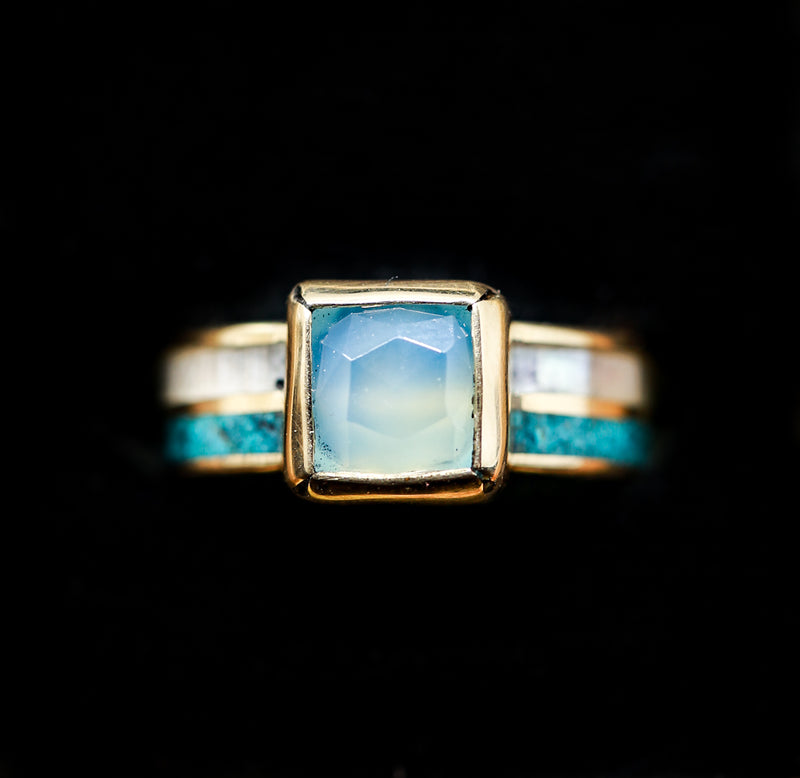 14K GOLD ENGAGEMENT RING WITH BEZEL SET CHALCEDONY AND TWO CHANNELS OF TURQUOISE & MOTHER OF PEARL (available in 14K rose, white, or yellow gold) - Staghead Designs - Antler Rings By Staghead Designs