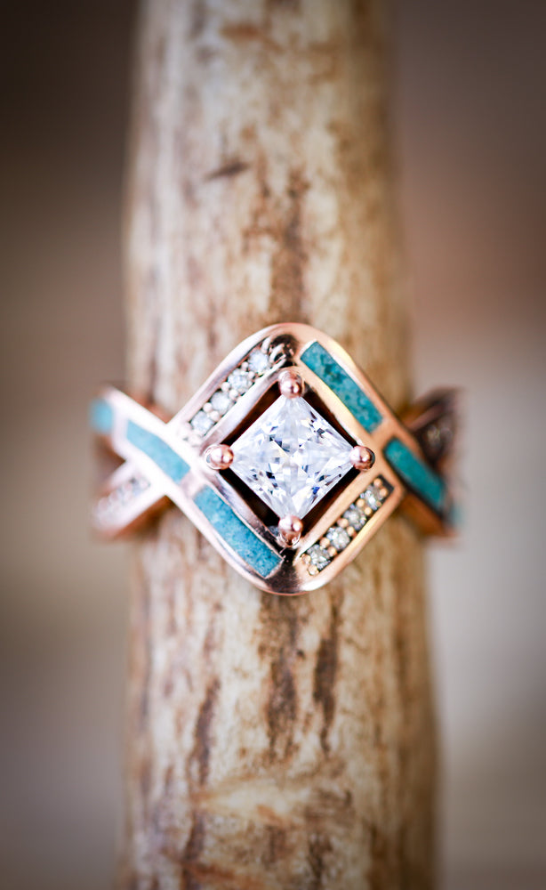 """HELIX"" 1ct MOISSANITE ENGAGEMENT RING WITH TURQUOISE INLAY (available in 14K rose, yellow, or white gold) - Staghead Designs - Antler Rings By Staghead Designs"