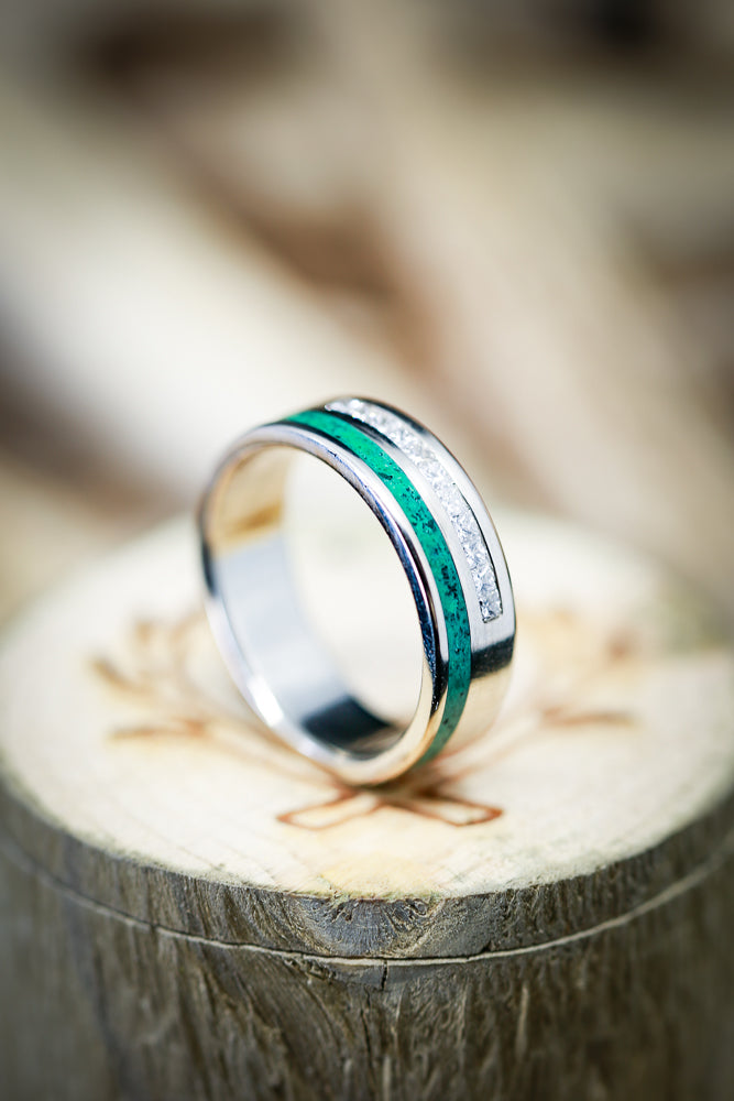 MEN'S MALACHITE WEDDING RING WITH DIAMONDS (available in 14K white, rose, or yellow gold) - Staghead Designs - Antler Rings By Staghead Designs