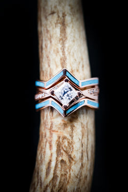 Turquoise and Diamond 1ct Princess Cut Engagement Ring - Staghead Designs