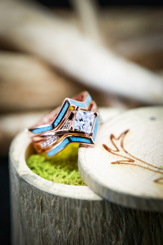 1ct MOISSANITE ENGAGEMENT RING WITH TURQUOISE RING GUARD IN 14K GOLD (available in 14K rose, yellow, or white gold) - Staghead Designs - Antler Rings By Staghead Designs