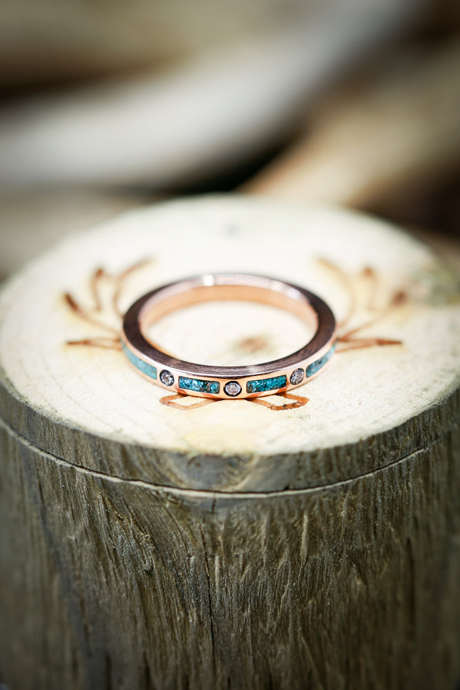 14K GOLD STACKER WITH TURQUOISE & DIAMONDS (available in rose, white and yellow gold with various inlays) - Staghead Designs - Antler Rings By Staghead Designs