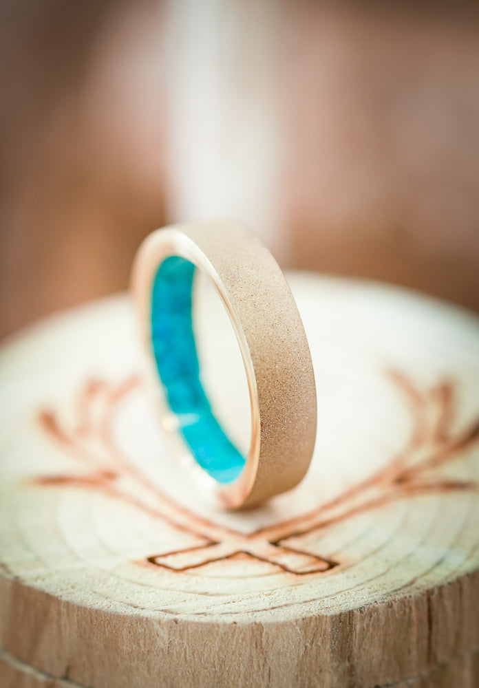 SANDBLASTED 14K GOLD TURQUOISE LINED WEDDING BAND (available in 14K rose, yellow, or white gold) - Staghead Designs - Antler Rings By Staghead Designs