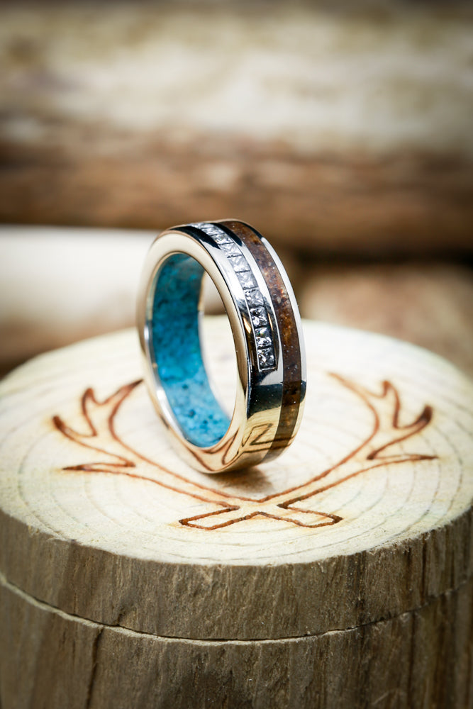 14K GOLD RING WITH WALNUT WOOD, DIAMOND ACCENTS, AND TURQUOISE LINING (fully customizable)
