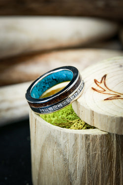 Walnut Wood Turquoise Diamond Mens Wedding Ring - Staghead Designs