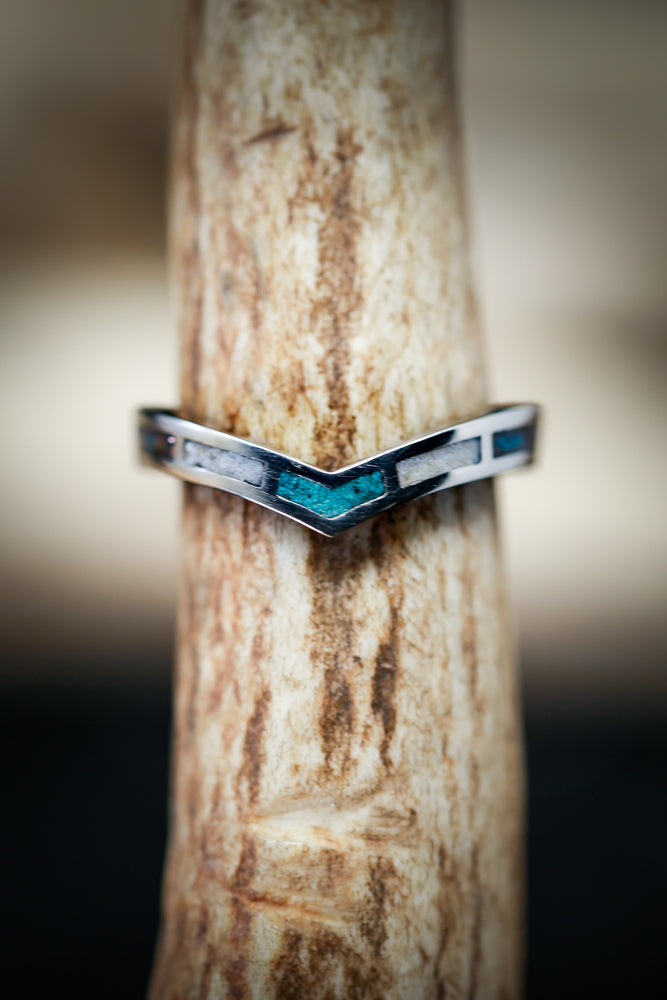 """KIDA"" 14K GOLD STACKER WITH TURQUOISE, ANTLER AND PATINA COPPER INLAYS (available in 14K rose, white, and yellow gold with various inlays) - Staghead Designs - Antler Rings By Staghead Designs"