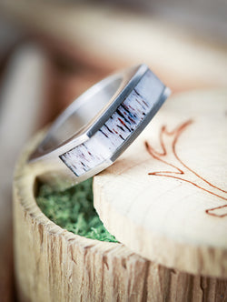 Antler and Silver Wedding Ring Flat Top Signet Antler Ring - Staghead Designs