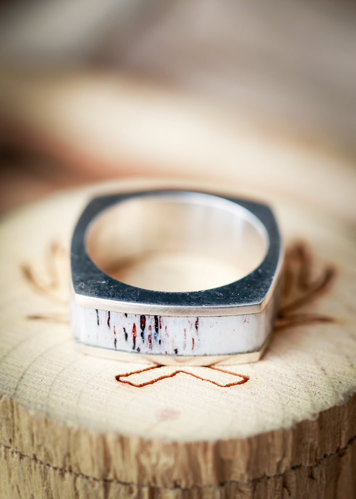 CUSTOM CAST SILVER WEDDING BAND WITH ANTLER INLAY (available in silver or 14K white, yellow, or rose gold)