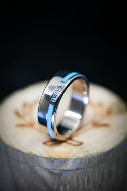 Turquoise And Diamond Ring Mens Wedding Band - Staghead Designs
