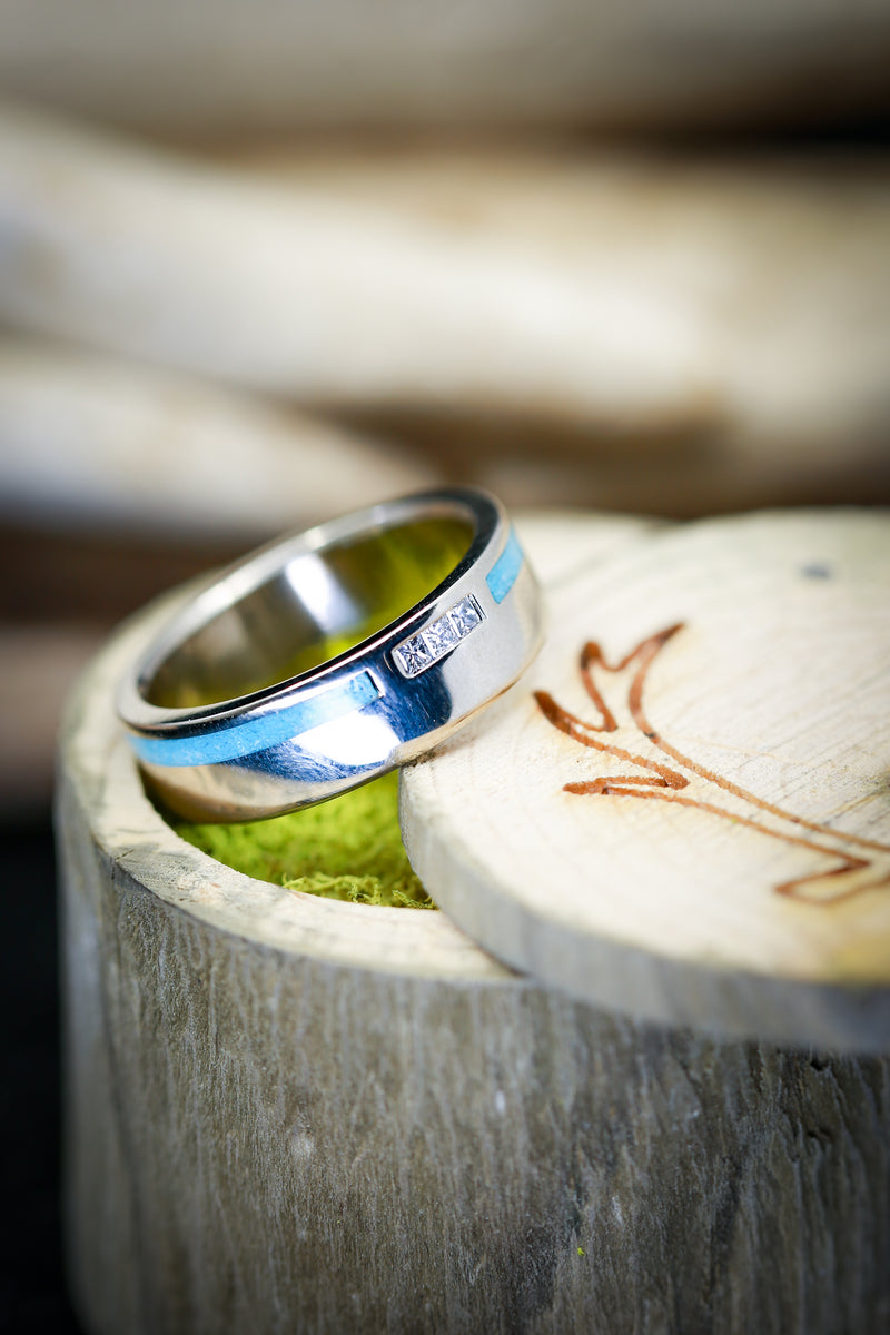 """VERTIGO"" IN 14K GOLD WITH OFFSET TURQUOISE INLAY & DIAMOND ACCENTS (available in 14K white, rose or yellow gold) - Staghead Designs - Antler Rings By Staghead Designs"