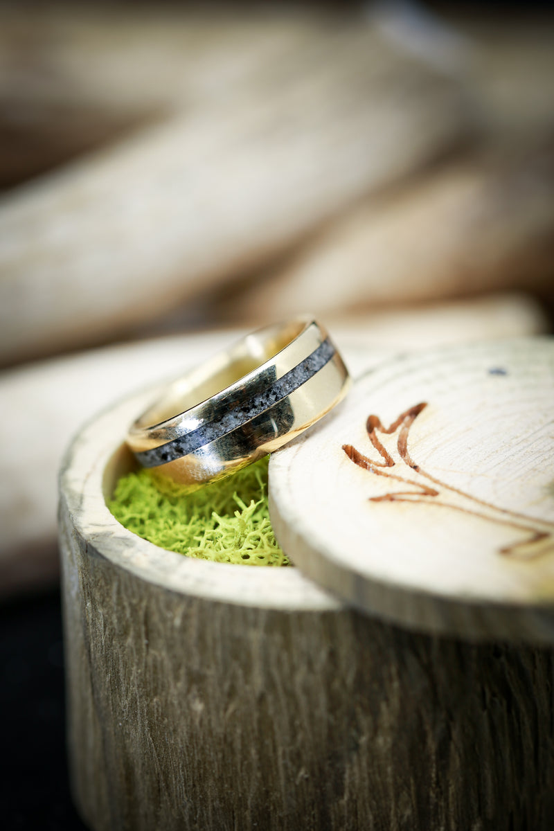 Gold And Granite Mens Wedding Ring Offset Inlay - Staghead Designs