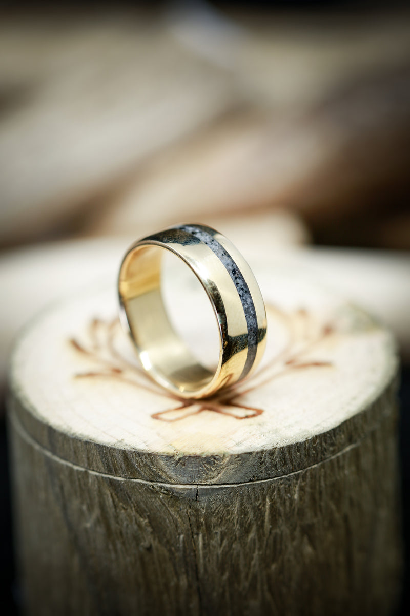 """VERTIGO"" IN 14K GOLD WITH GRANITE INLAY (available in 14K white, rose, or yellow gold) - Staghead Designs - Antler Rings By Staghead Designs"