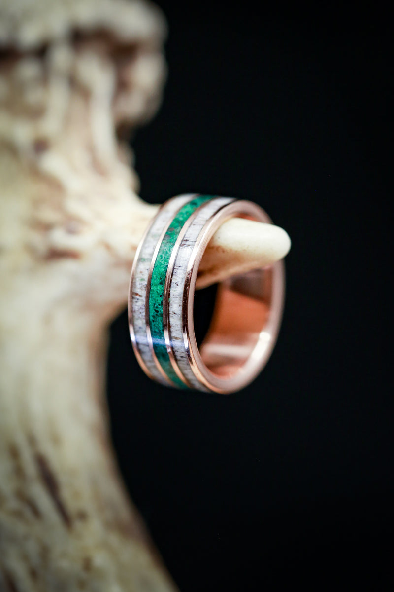 """RIO"" - 14K GOLD RING WITH MALACHITE AND ANTLER INLAYS (available in 14K white, rose or yellow gold) -  Custom Rings Handcrafted By Staghead Designs"
