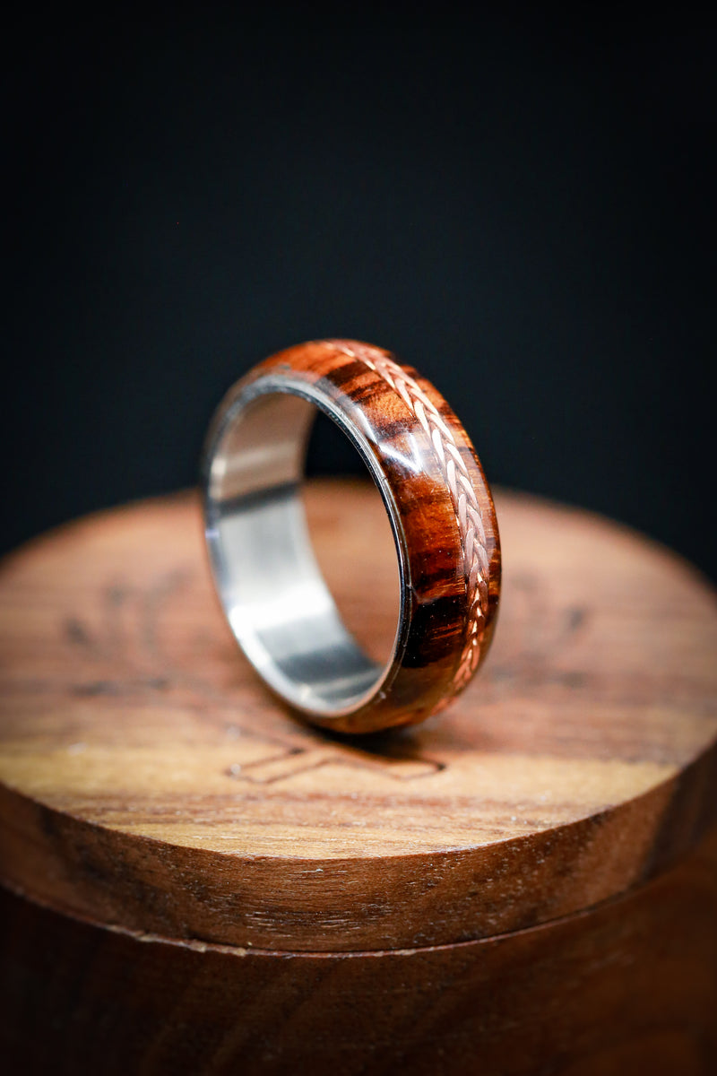 IRONWOOD WEDDING BAND WITH OFFSET BRAIDED COPPER INLAY (available in titanium, silver, black zirconium, damascus steel & 14K white, rose, or yellow gold) -  Custom Rings Handcrafted By Staghead Designs