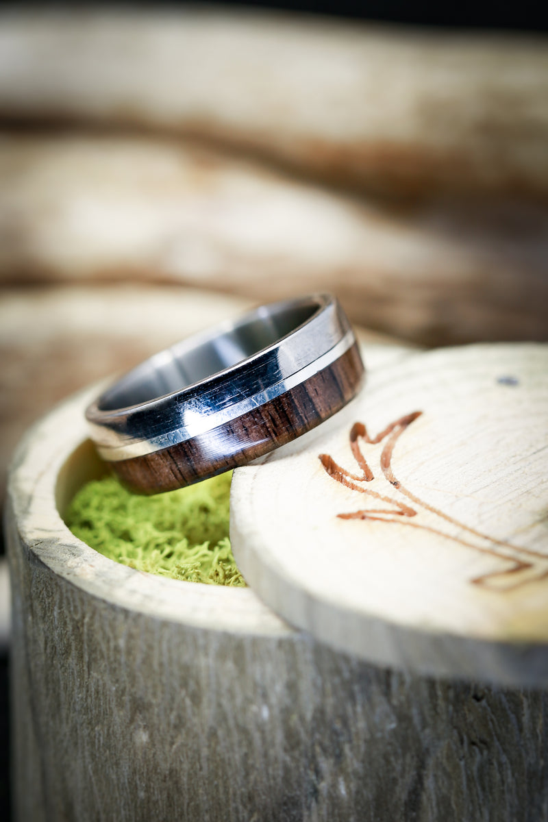 """TANNER"" IN AFRICAN BLACK WOOD WITH 14K GOLD INLAY (available in titanium, silver, black zirconium, damascus steel & 14K white, rose or yellow gold) -  Custom Rings Handcrafted By Staghead Designs"