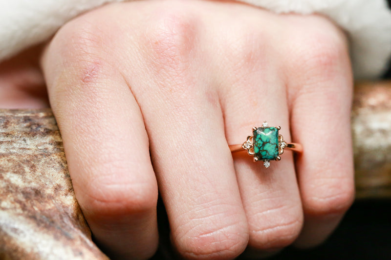 TURQUOISE ENGAGEMENT RING WITH DIAMOND ACCENTS (available in 14K rose, white, or yellow gold) -  Custom Rings Handcrafted By Staghead Designs
