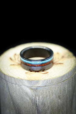 Ironwood And Turquoise Wedding Ring Black Zirconium Mens Unique Ring - Staghead Designs