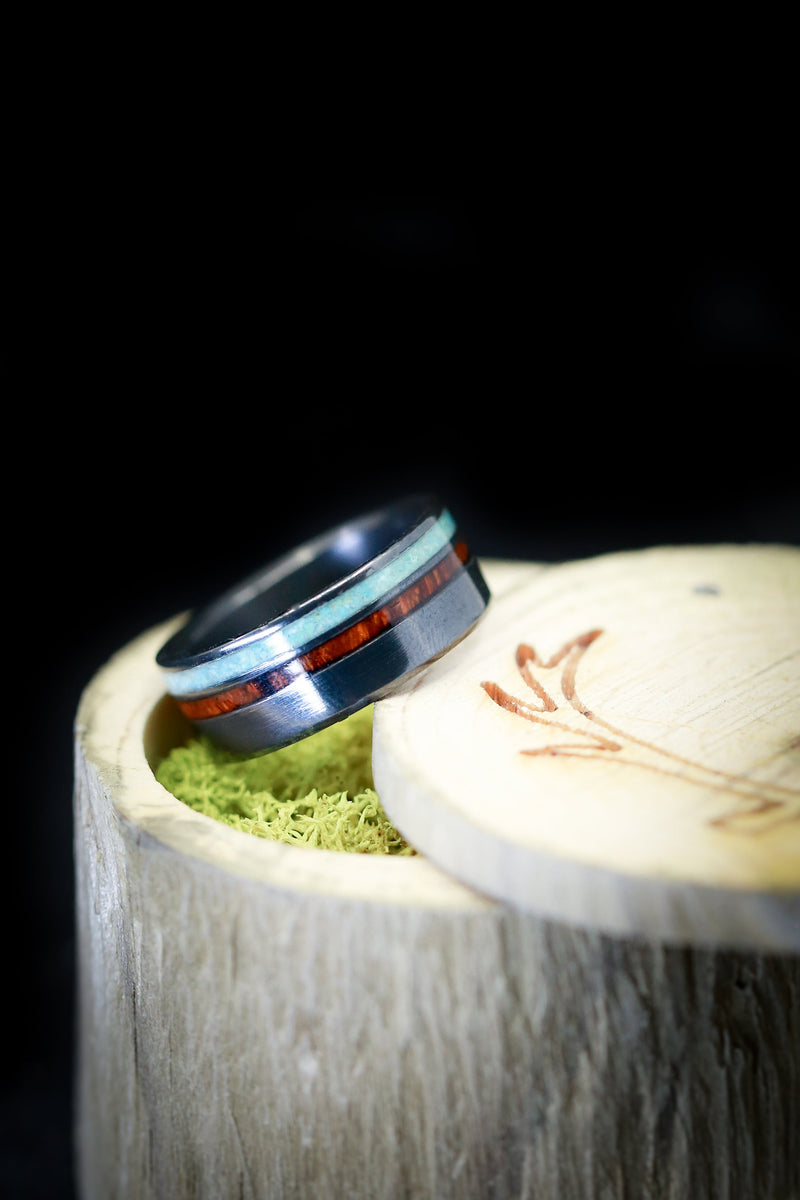 TURQUOISE WEDDING RING WITH IRONWOOD INLAY (available in titanium, silver, black zirconium, damascus steel & 14K white, rose, or yellow gold) - Staghead Designs - Antler Rings By Staghead Designs