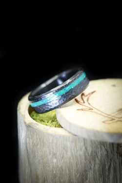 Blue Opal Black Zirconium Hammered Mens Wedding Ring - Staghead Designs