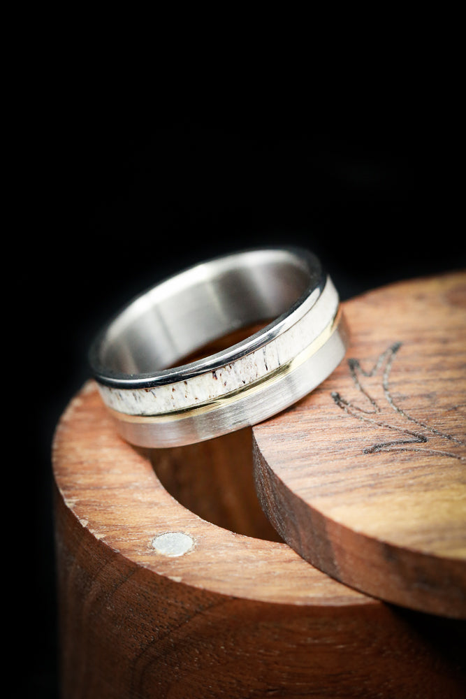"""TANNER"" IN BRUSHED TITANIUM WITH ELK ANTLER AND 14K GOLD INLAY (available in titanium, silver, black zirconium, damascus steel & 14K white, rose or yellow gold) -  Custom Rings Handcrafted By Staghead Designs"