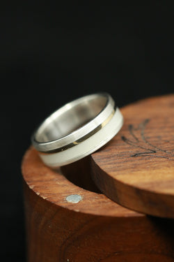 Antler Elk Ring Mens Wedding Band Silver Gold Inlay - Staghead Designs