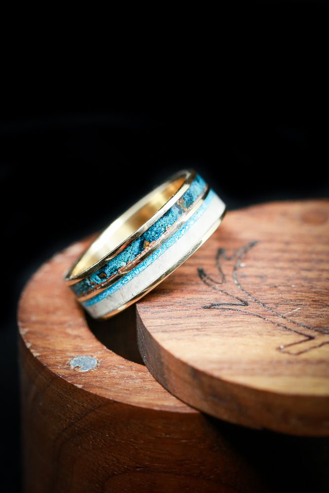 """ELEMENT"" IN 14K GOLD WITH PATINA COPPER, ANTLER & TURQUOISE (available in 14K white, rose, or yellow gold) - Staghead Designs - Antler Rings By Staghead Designs"