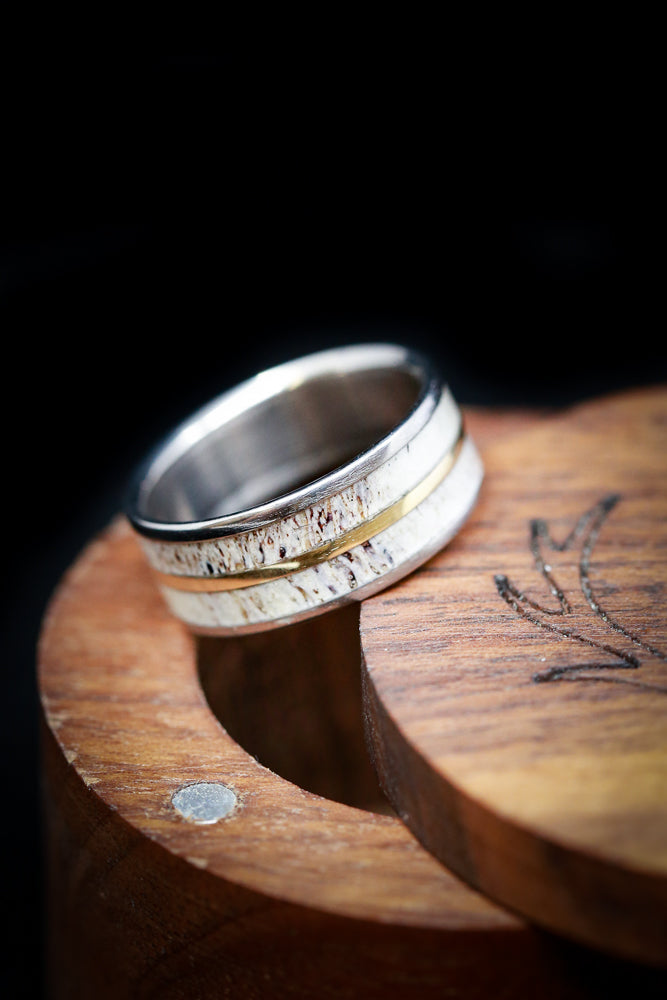 """GOLDEN"" IN ELK ANTLER & 14K GOLD INLAY (fully customizable)"