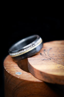 """TANNER"" - DOMED PROFILE RING IN BRUSHED BLACK ZIRCONIUM WITH HAMMERED 14K GOLD INLAY AND ANTLER (available in silver, black zirconium, damascus steel & 14K white, rose, or yellow gold)"