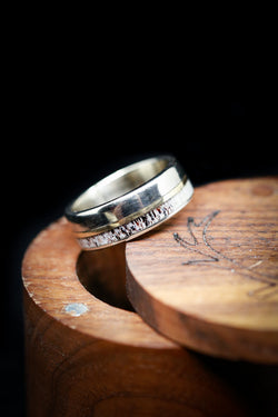 Mixed Metal Mens Wedding Band Antler Ring Gold Band - Staghead Designs