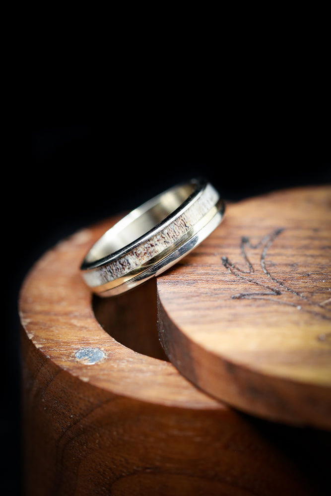 """TANNER"" - MATCHING SET OF 14K GOLD ELK ANTLER WEDDING BANDS WITH YELLOW GOLD INLAYS (fully customizable)"