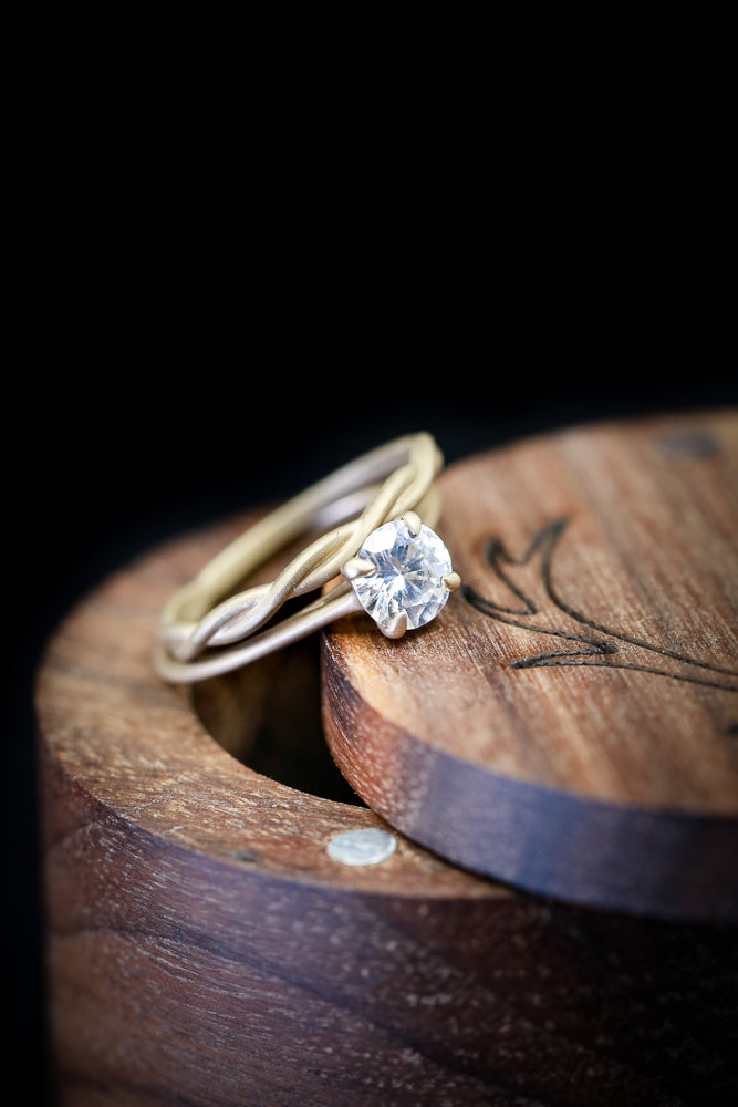 14K GOLD MATTE FINISH SOLITAIRE WITH 1CT MOISSANITE CENTER STONE & TWISTED STACKER (available in 14K rose, white or yellow gold) - Staghead Designs - Antler Rings By Staghead Designs