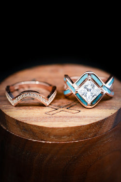Turquoise Wedding Ring Moissanite Engagement  - Staghead Designs
