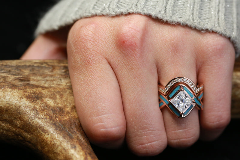 """HELIX"" 1ct MOISSANITE ENGAGEMENT RING WITH TURQUOISE INLAY AND DIAMOND TRACER (available in 14K rose, yellow, or white gold)"