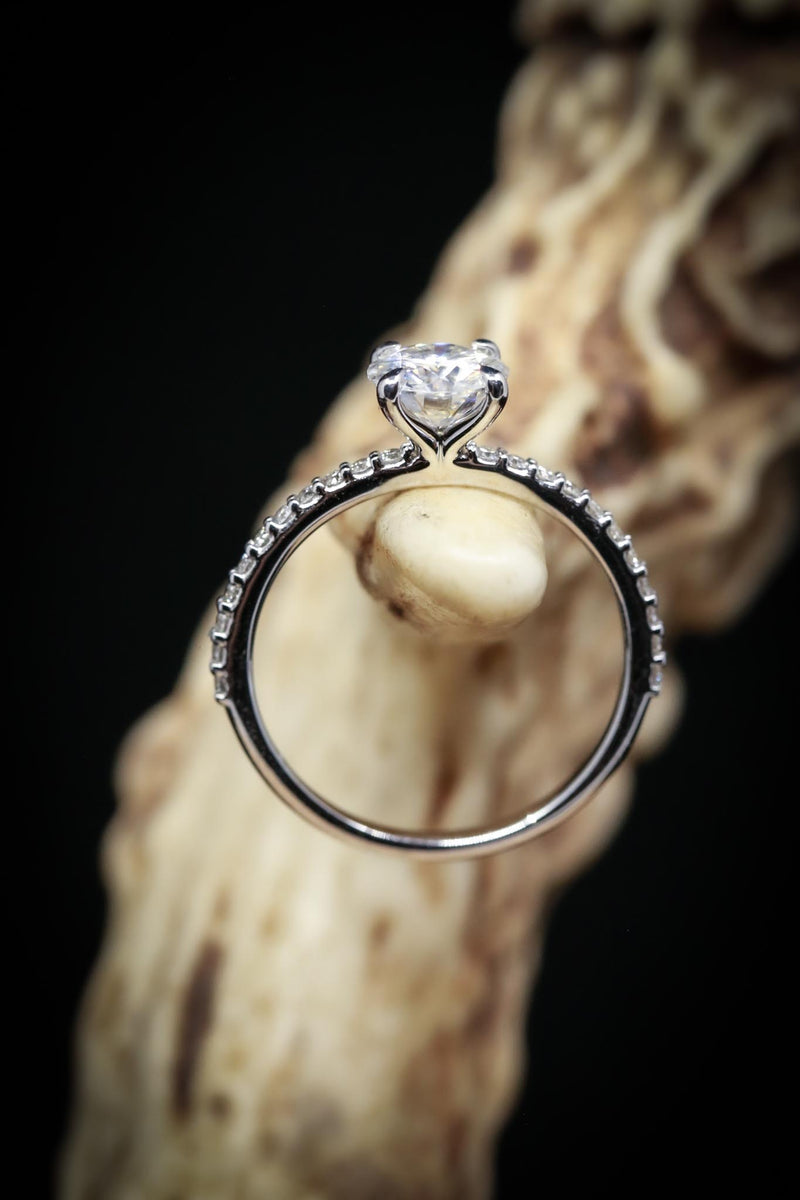 4 PRONG MOISSANITE ENGAGEMENT RING WITH DIAMOND ACCENTS (fully customizable)