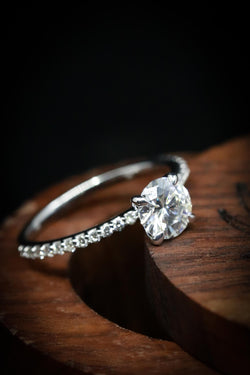 Moissanite Engagement Ring With Diamond Accents - Staghead Designs