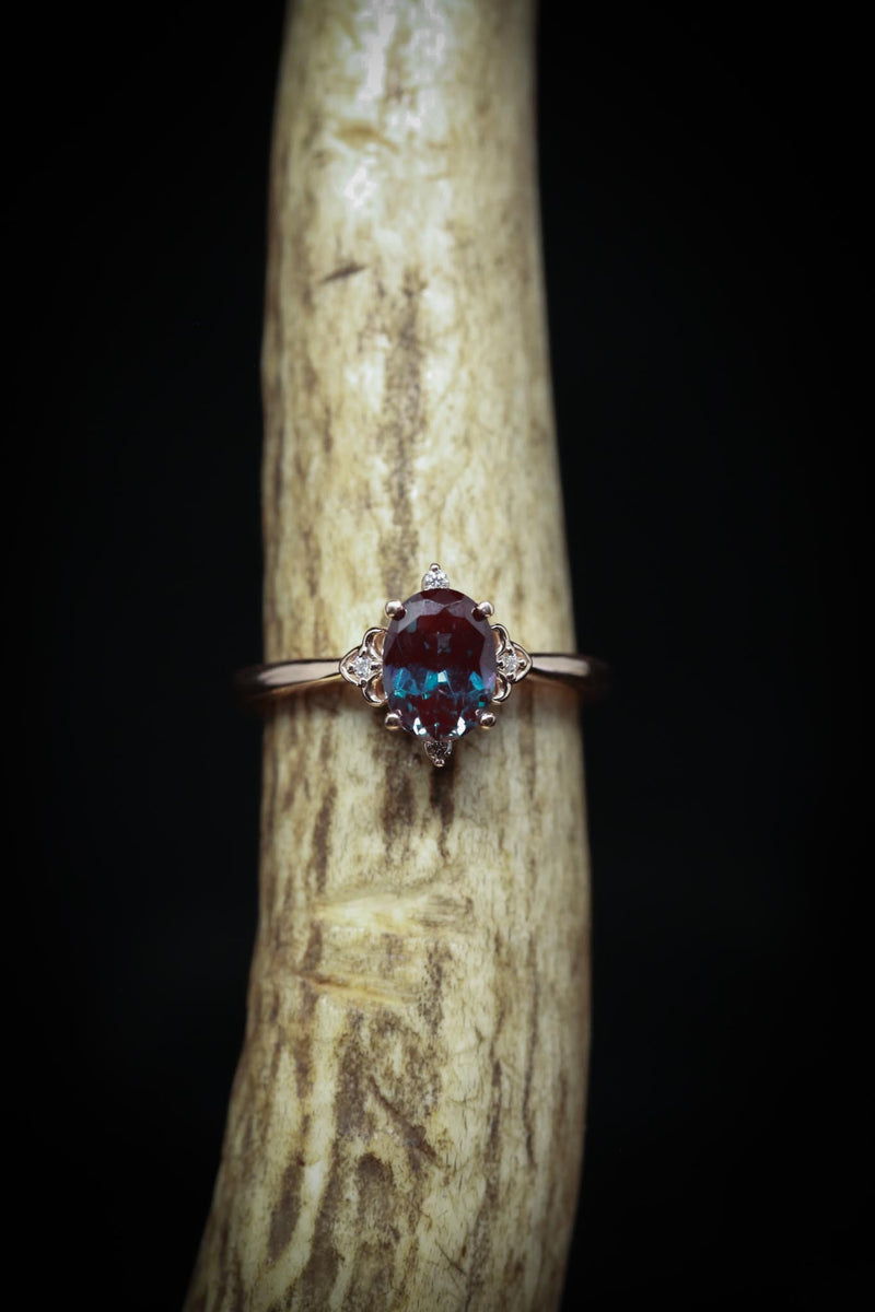 """ZELLA"" WITH CHATHAM ALEXANDRITE CENTER STONE (fully customizable)"