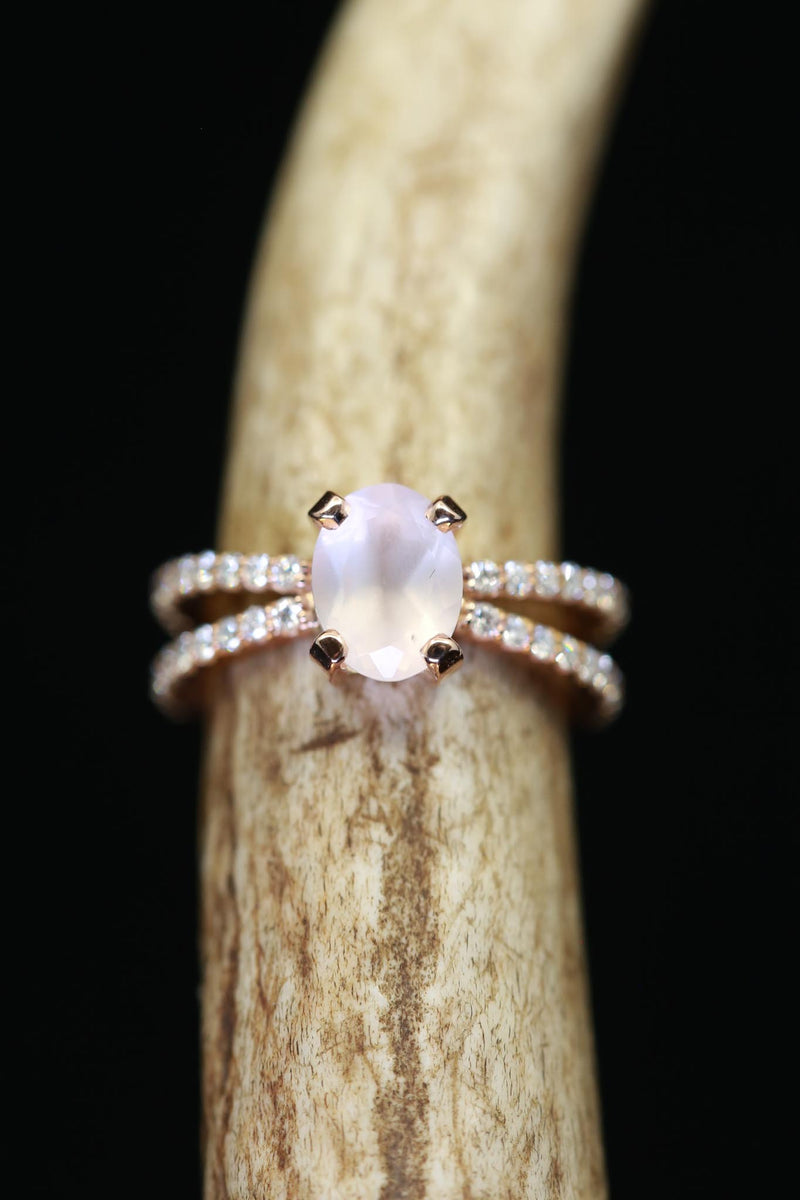 OVAL CUT MOONSTONE SET ON 14K GOLD DIAMOND BAND (available in 14K rose, white and yellow gold)