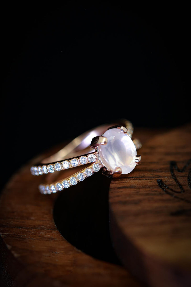 Oval Cut Moonstone Engagement Ring With Diamond Band - Staghead Designs