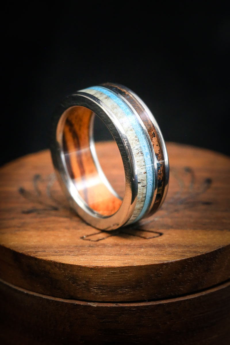 """ELEMENT"" IN WOOD LINING WITH PATINA COPPER, ANTLER & TURQUOISE INLAYS (fully customizable)"