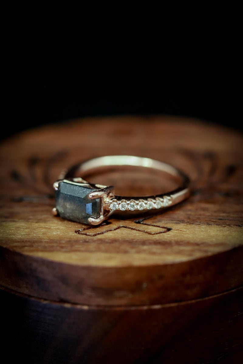 EMERALD CUT SALT AND PEPPER DIAMOND ENGAGEMENT RING WITH DIAMOND ACCENTS (fully customizable)