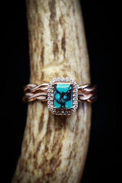 Custom Turquoise Engagement Ring Featuring an Emerald Cut and Diamond Halo - Staghead Designs